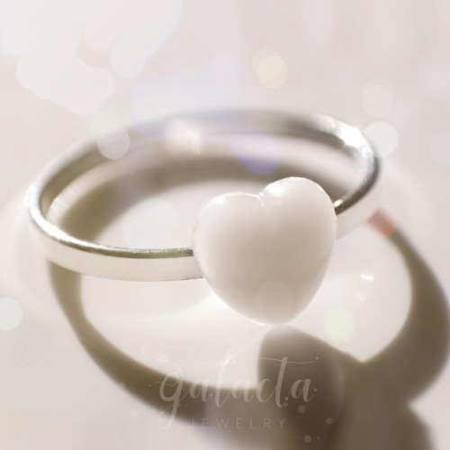 Breastmilk jewelry heart ring