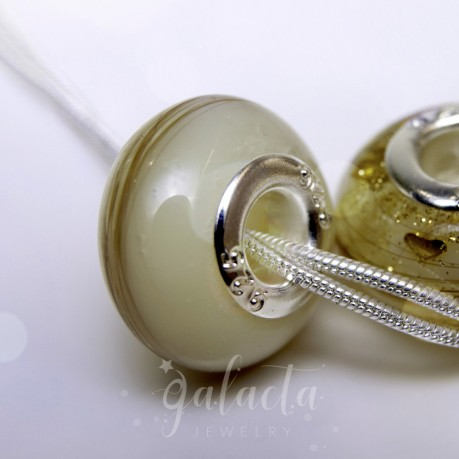 Breastmilk and first curl Pandora style bead - European bracelet charm