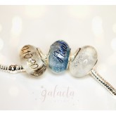 Personalized crystal Pandora style bead with breast milk and a silver name
