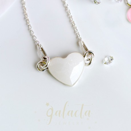 Heart connector necklace with breastmilk