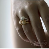 Stackable ring with breastmilk cabochon
