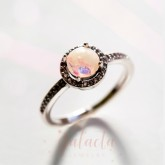 Halo ring with breastmilk stone